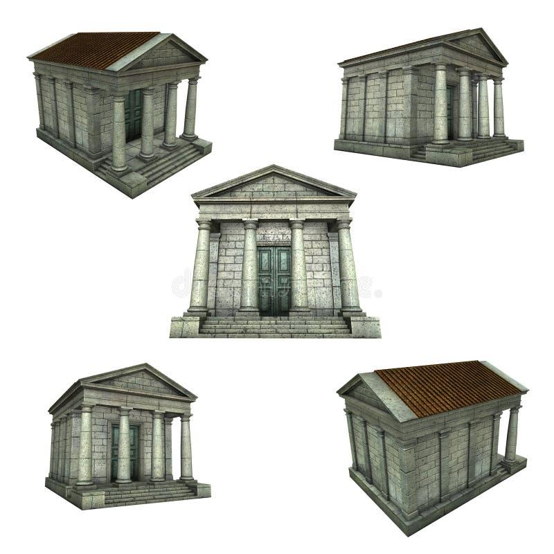 templo romano griego típico 3d en blanco libre illustration