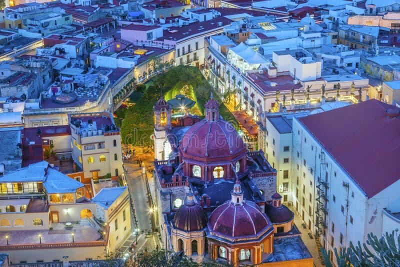 Templo San Diego Jardin Juarez Theater Guanajuato México imagens de stock royalty free