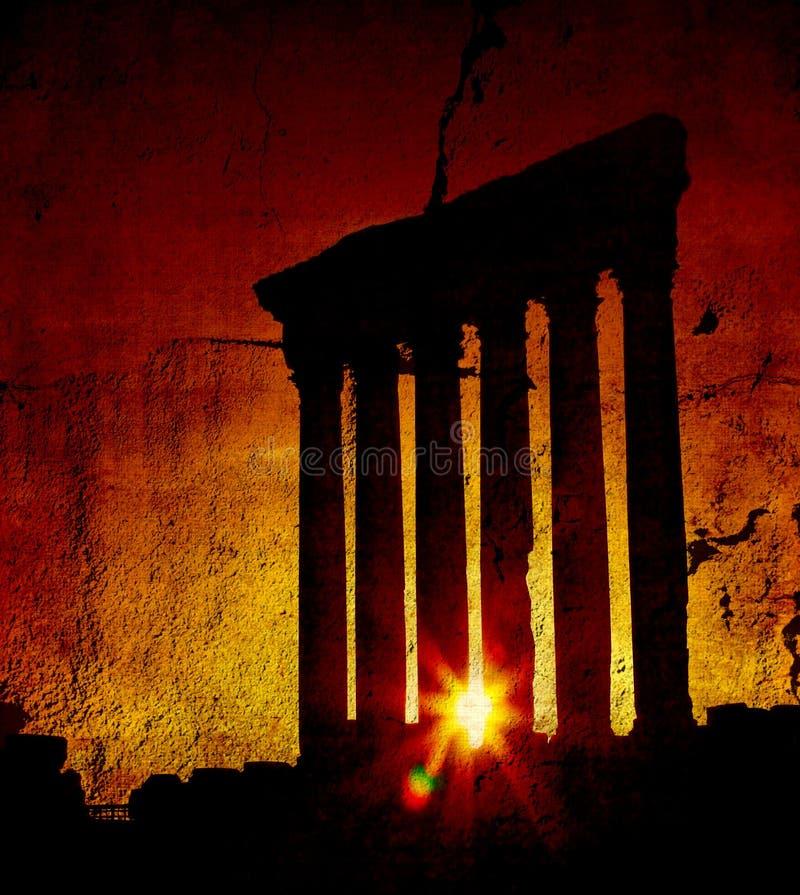 Templo sobre puesta del sol, Baalbek, Líbano de Júpiter fotografía de archivo libre de regalías