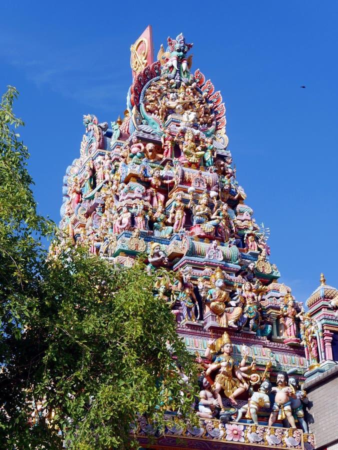 Templo Sri Veeramakaliamman del Tamil en Singapur imagenes de archivo