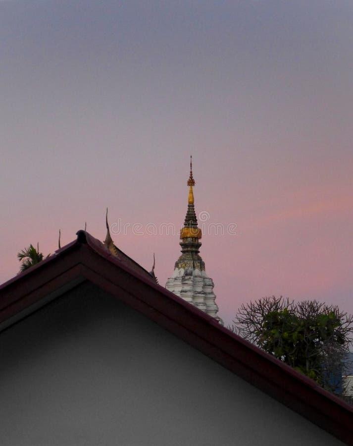 Templo tailandês na luz do amanhecer foto de stock