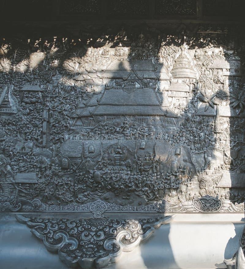 Templo Tailandês O famoso templo mármore chiangmai Tailândia Arte Tailandesa fotos de stock royalty free
