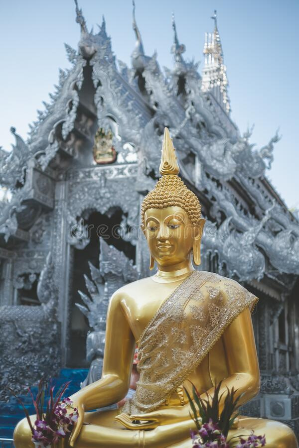 Templo Tailandês O famoso templo mármore chiangmai Tailândia Arte Tailandesa fotografia de stock