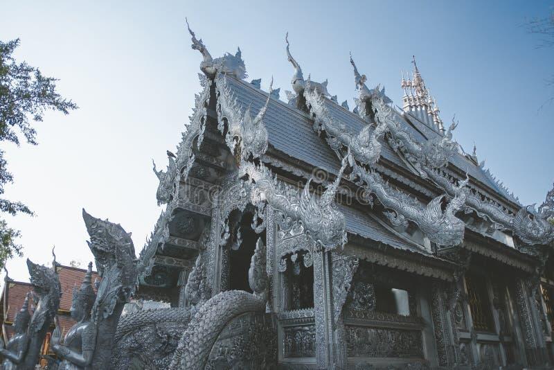 Templo Tailandês O famoso templo mármore chiangmai Tailândia Arte Tailandesa imagem de stock
