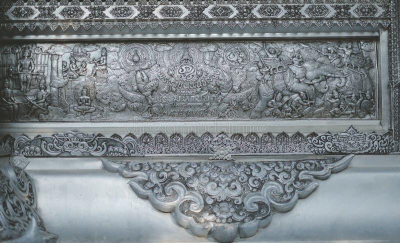 Templo Tailandês O famoso templo mármore chiangmai Tailândia Arte Tailandesa foto de stock royalty free