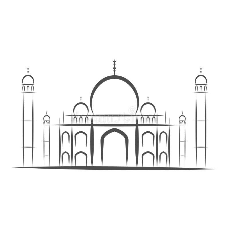 Templo Taj Mahal, Agra, ilustração preto e branco do isolar-vetor da silhueta dos ícones da Índia Fundo branco ilustração stock