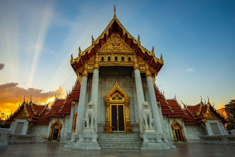 Templo um do benchamabophit de Wat da maioria de destinat de viagem popular fotografia de stock royalty free