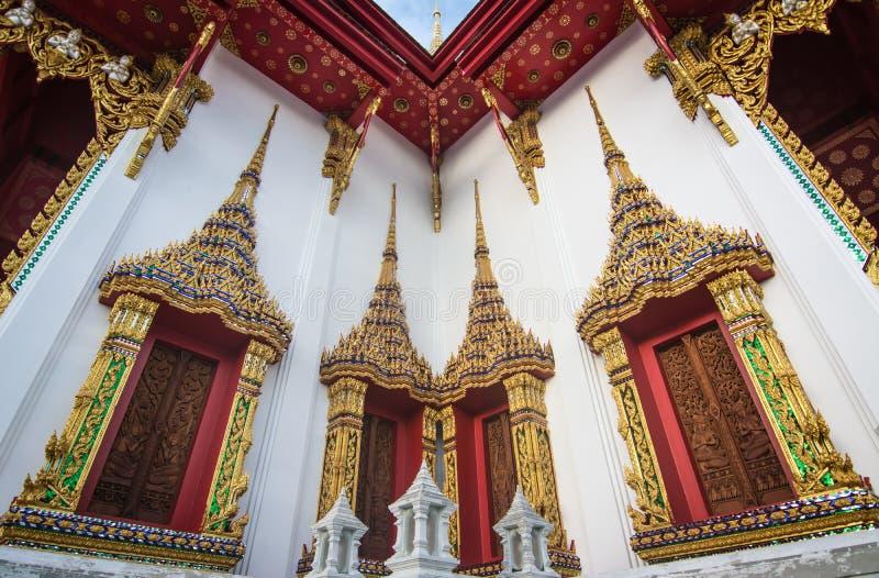 Templo, ventanas y marcos tailandeses, Tailandia foto de archivo