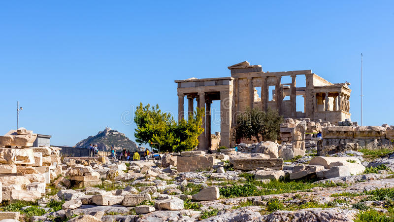Templo viejo de Athena en la acrópolis de Atenas foto de archivo libre de regalías