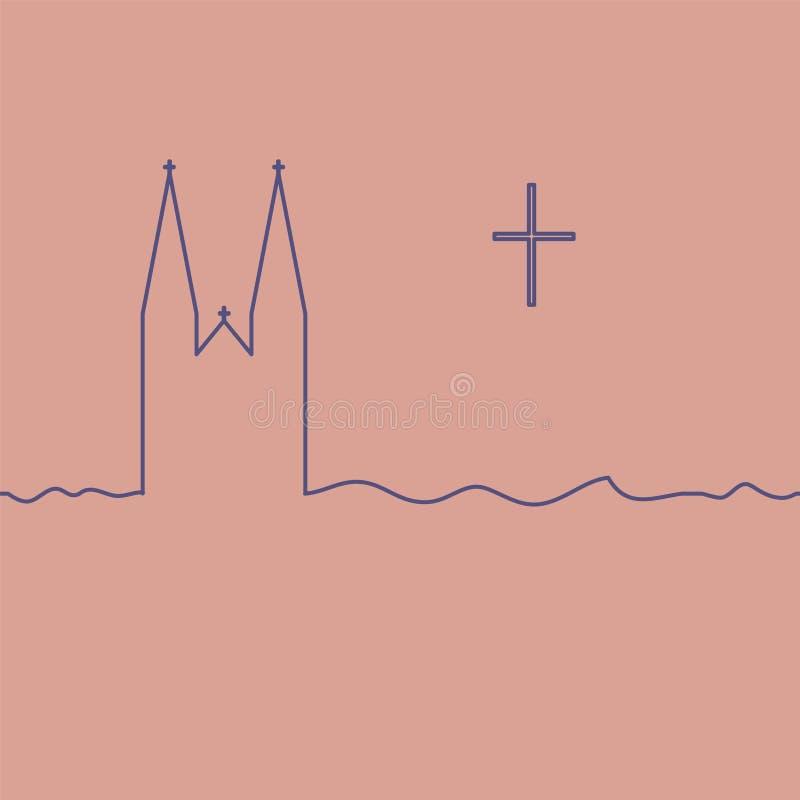 Templo y cruz cat?licos ilustración del vector