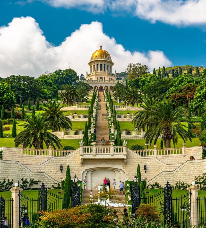 Templo y jardines de Bahai en Haifa Israel foto de archivo libre de regalías