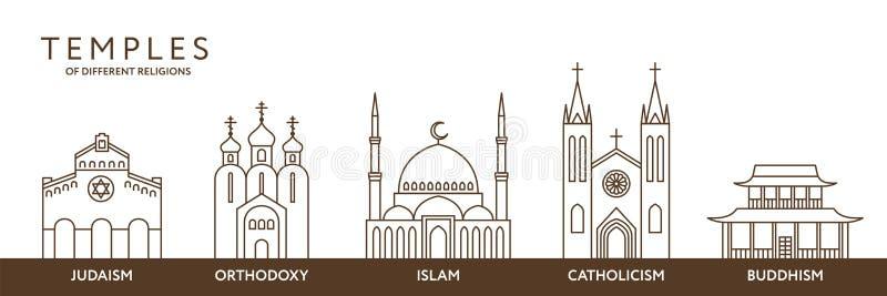 Templos de diversas religiones del mundo Infografía libre illustration