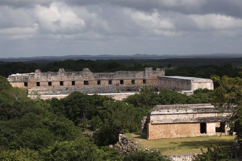 Templos em Uxmal, México do Maya fotos de stock royalty free