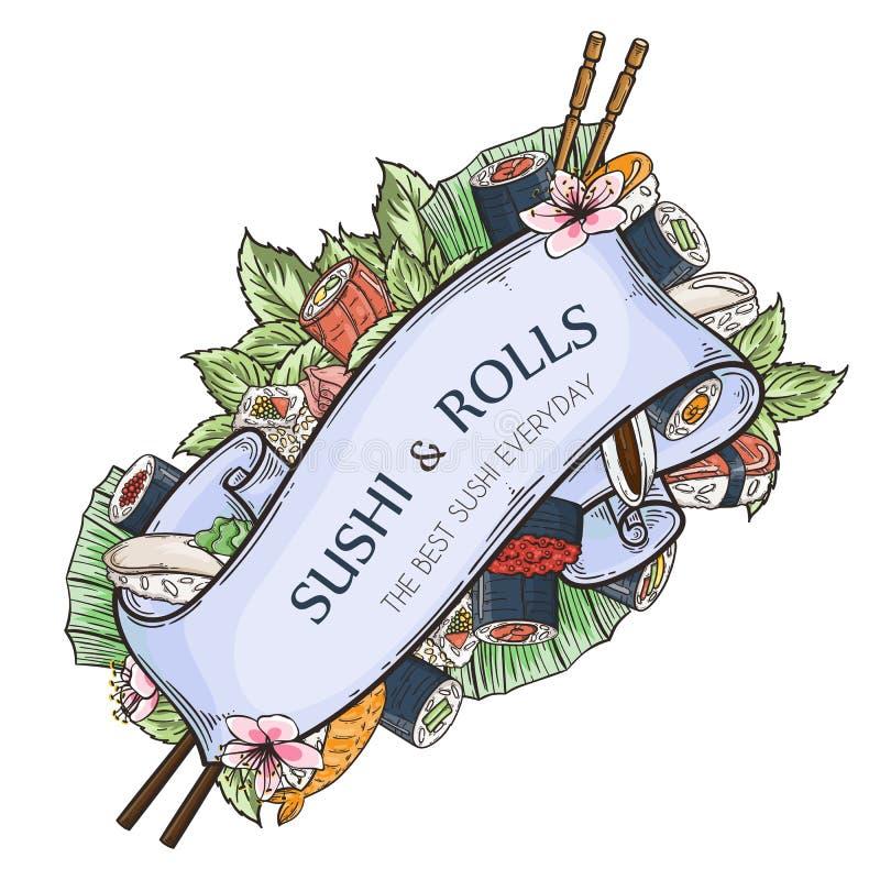 Templte com sushi e rolos Fita gravada decorativa do vintage Culinária tradicional japonesa ilustração royalty free