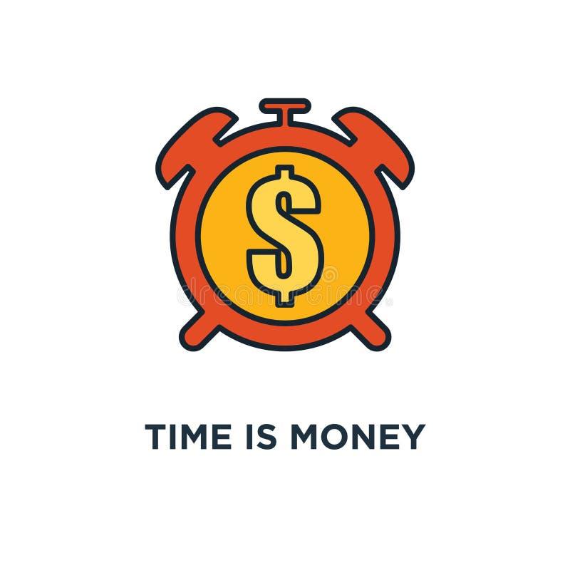 Tempo é dinheiro ícone pulso de disparo e moeda, lucro do dinheiro e projeto do símbolo do conceito do benefício, investimento fi ilustração do vetor