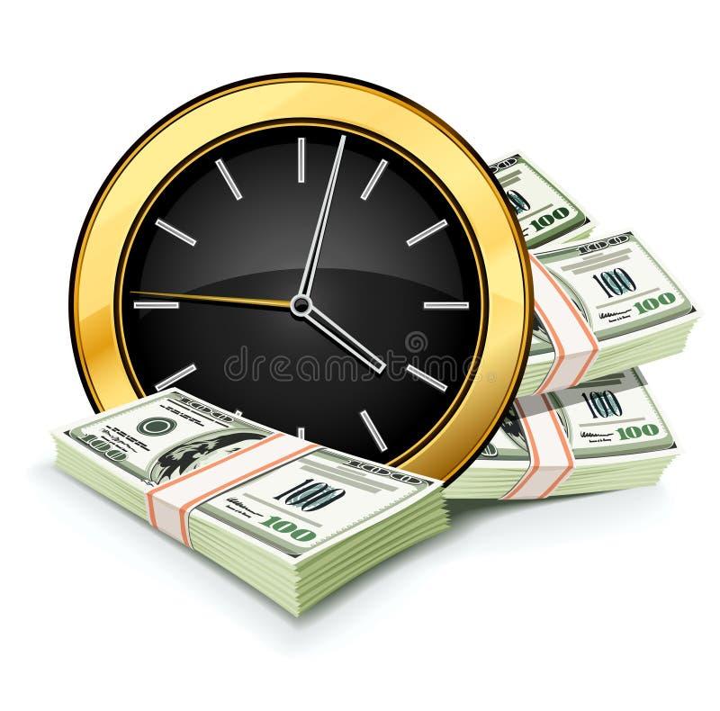 Tempo é dinheiro conceito com pulso de disparo e dólares ilustração do vetor