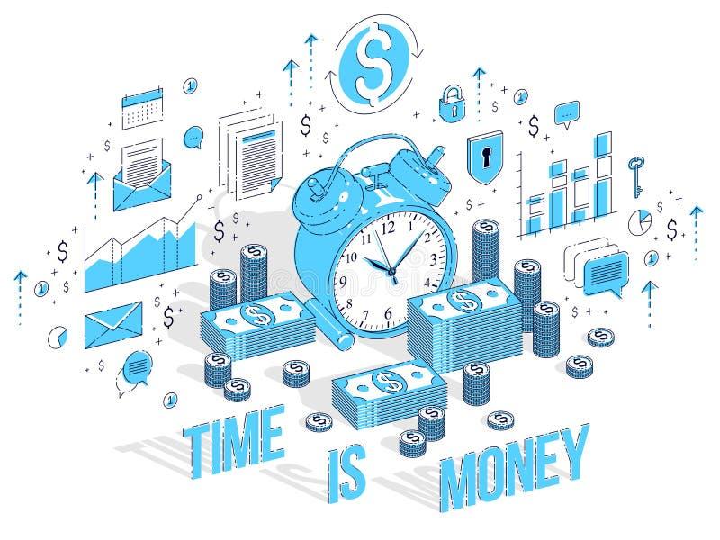 Tempo é dinheiro conceito, despertador da tabela com as pilhas do dinheiro do dinheiro ilustração stock