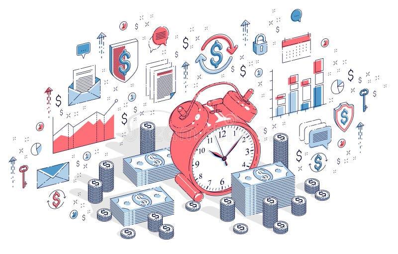 Tempo é dinheiro conceito, despertador da tabela com as pilhas do dinheiro do dinheiro ilustração do vetor