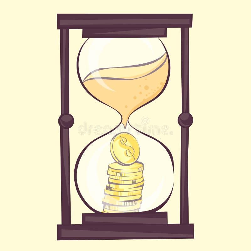 Tempo é dinheiro conceito, ilustração dos desenhos animados da ampulheta com dólar Sandglass, estilo retro, imagem ilustração stock