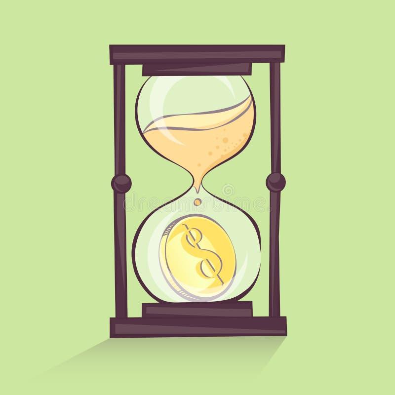 Tempo é dinheiro conceito, ilustração dos desenhos animados da ampulheta com dólar, sandglass, estilo retro, imagem ilustração stock