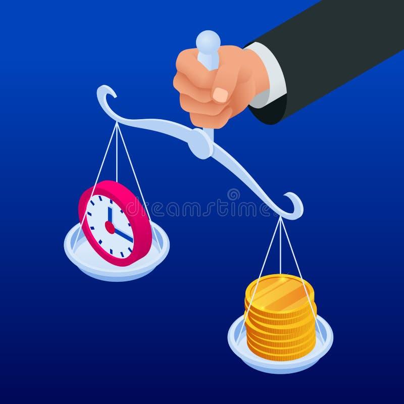 Tempo é dinheiro conceito isométrico O conceito ganha o tempo, economia do dinheiro Investimentos financeiros, aumento do rendime ilustração do vetor