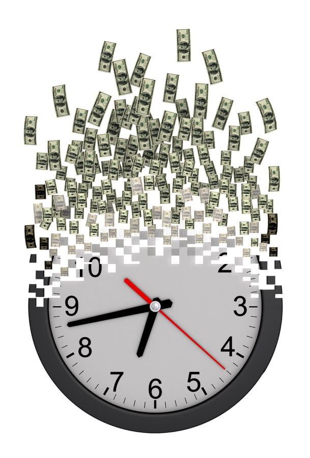 Tempo é dinheiro conceito Pulso de disparo que cai distante aos dólares ilustração stock