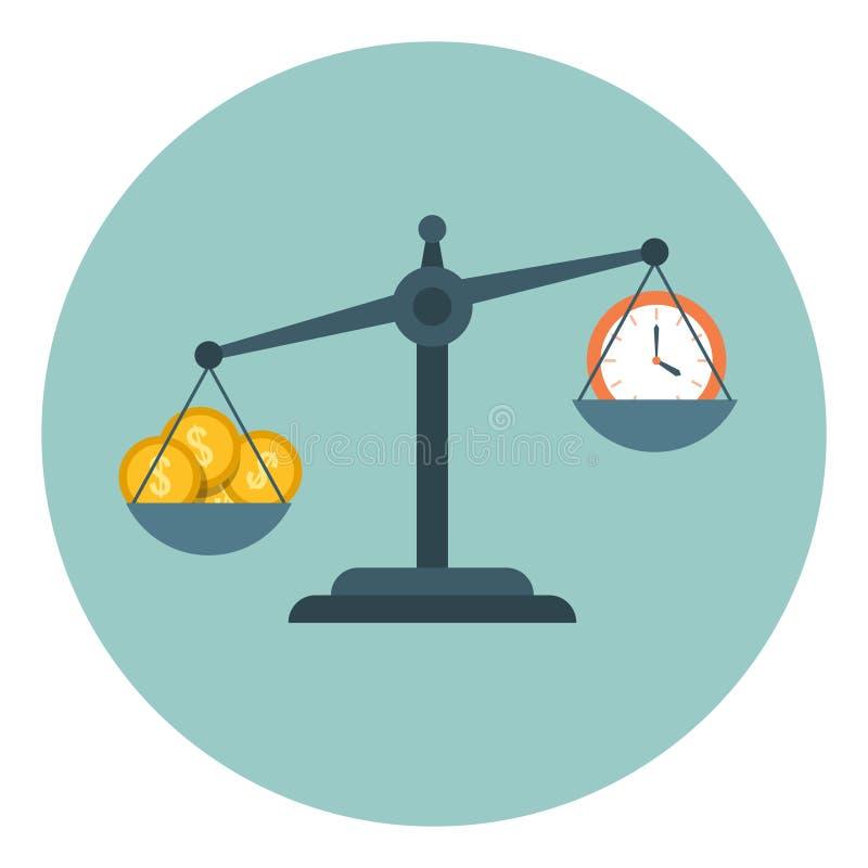 Tempo é dinheiro, escala que mede o conceito liso do negócio do vetor da gestão de tempo ilustração royalty free