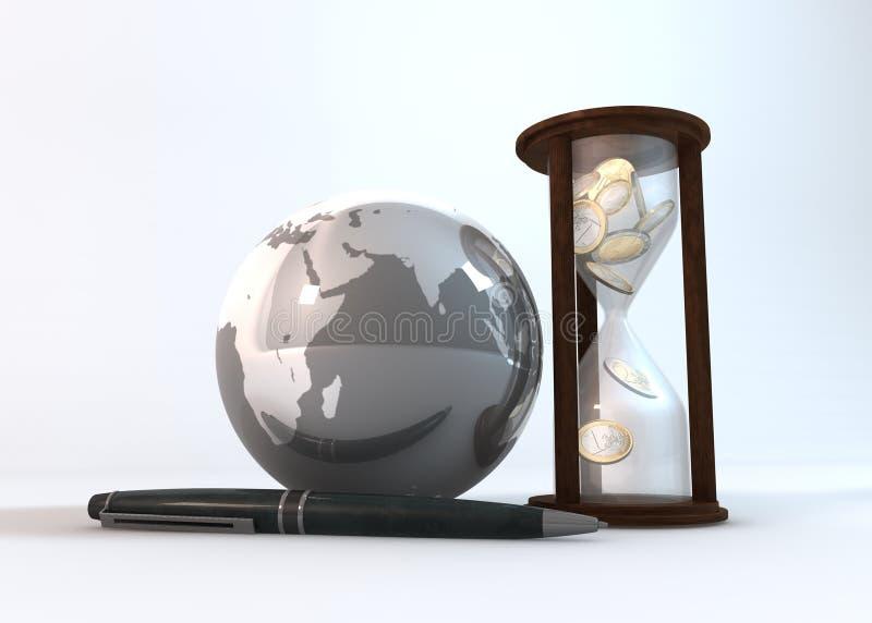Tempo é dinheiro fundo do branco da perspectiva ilustração stock