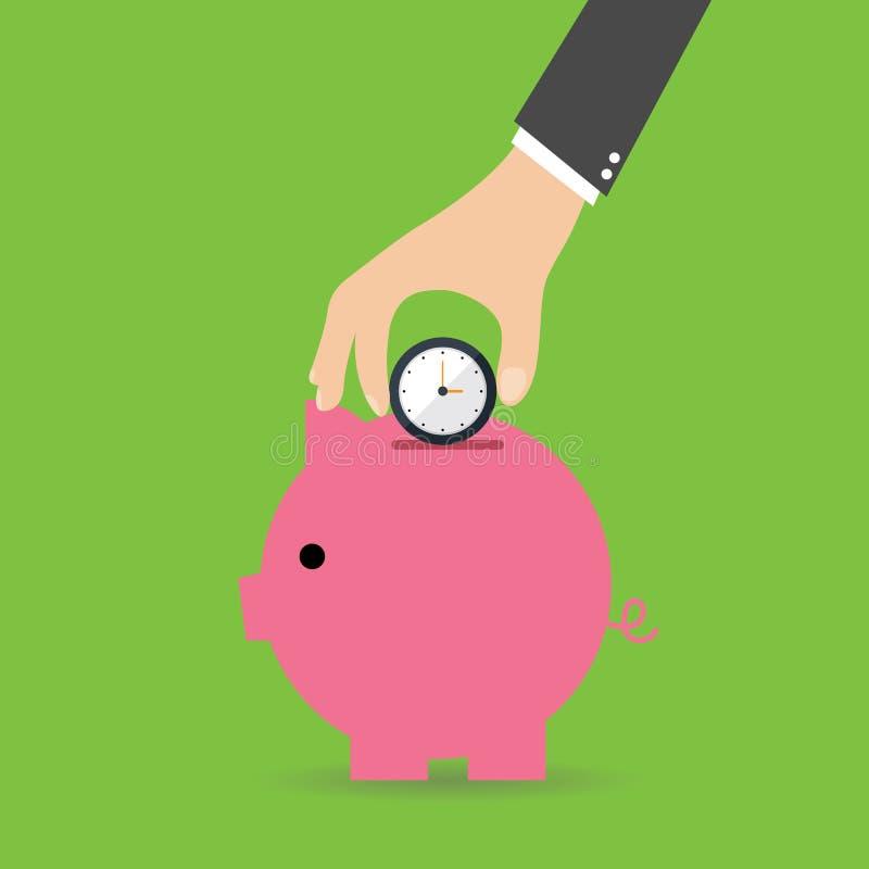 Tempo é dinheiro Mealheiro com relógios Ilustração lisa do vetor do projeto ilustração do vetor