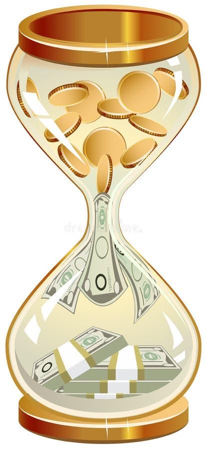 Tempo é dinheiro Moedas e notas da ampulheta ilustração stock