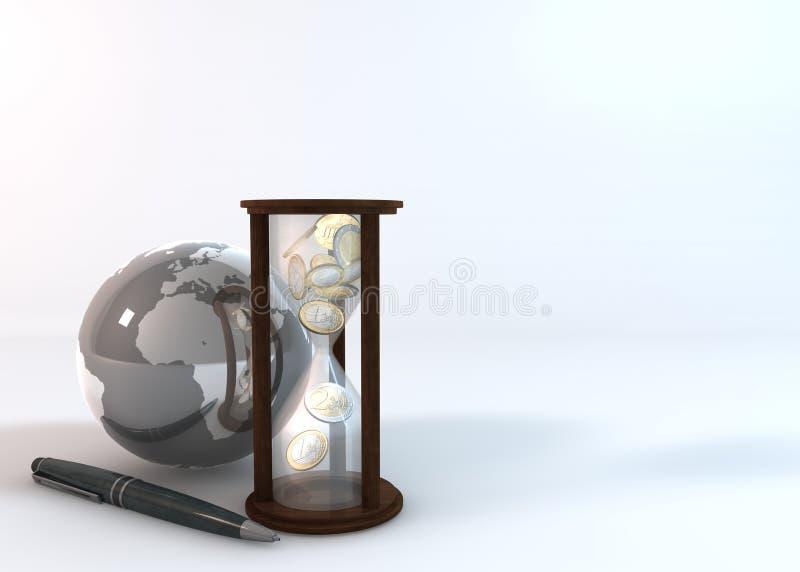 Tempo é dinheiro no fundo branco ilustração stock