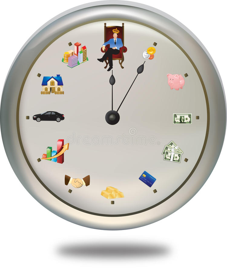 Tempo é dinheiro o *** pode ajustar a mão de pulso de disparo como você macilento ilustração royalty free