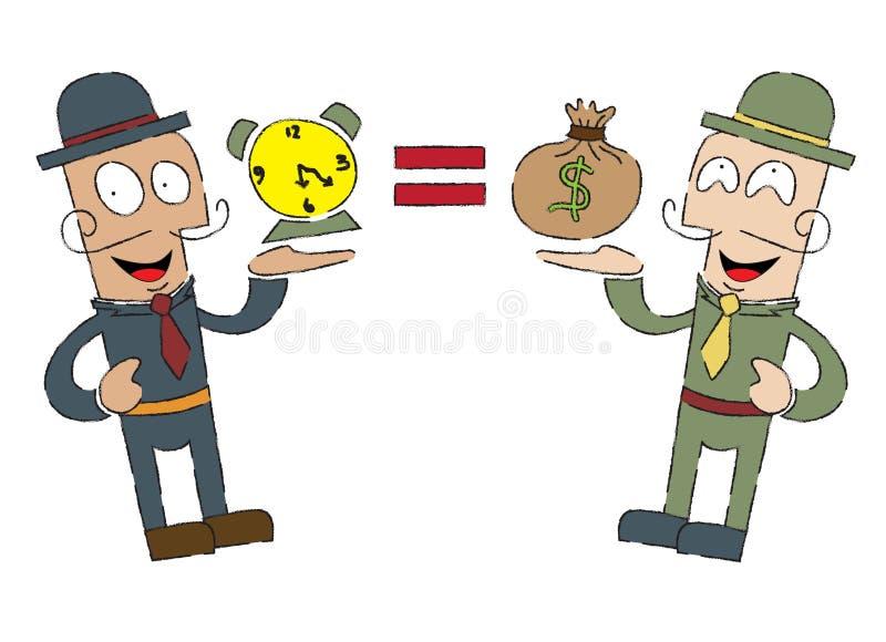 Tempo é dinheiro, posição gêmea ilustração royalty free