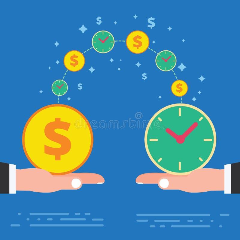 Tempo é dinheiro projeto de conceito do negócio Mão dois que guarda p dourado ilustração stock