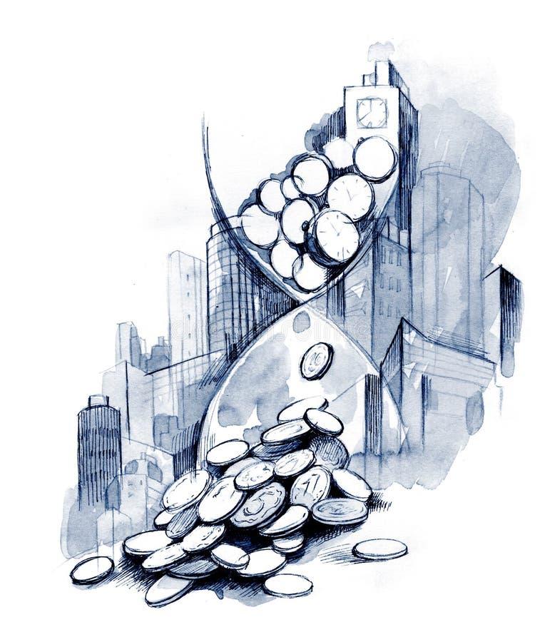 Tempo é dinheiro (série A) ilustração do vetor