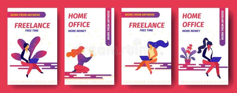 Tempo autônomo, livre, escritório domiciliário mais dinheiro, ilustração royalty free