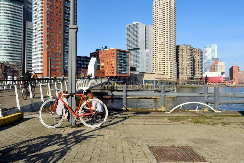 Tempo caldo insolito a febbraio alla testa di sud a Rotterdam immagine stock libera da diritti