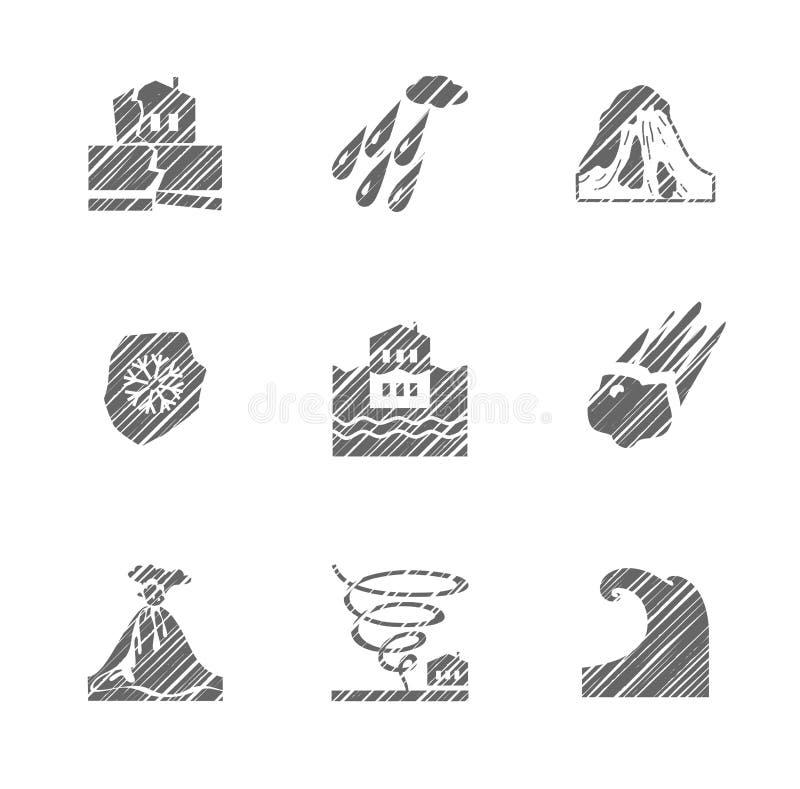 Tempo, catástrofes naturais, ícones monocromáticos, chocando, vetor ilustração royalty free