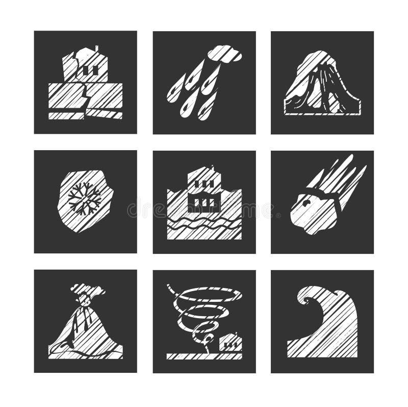 Tempo, catástrofes naturais, ícones quadrados, chocando, vetor ilustração stock