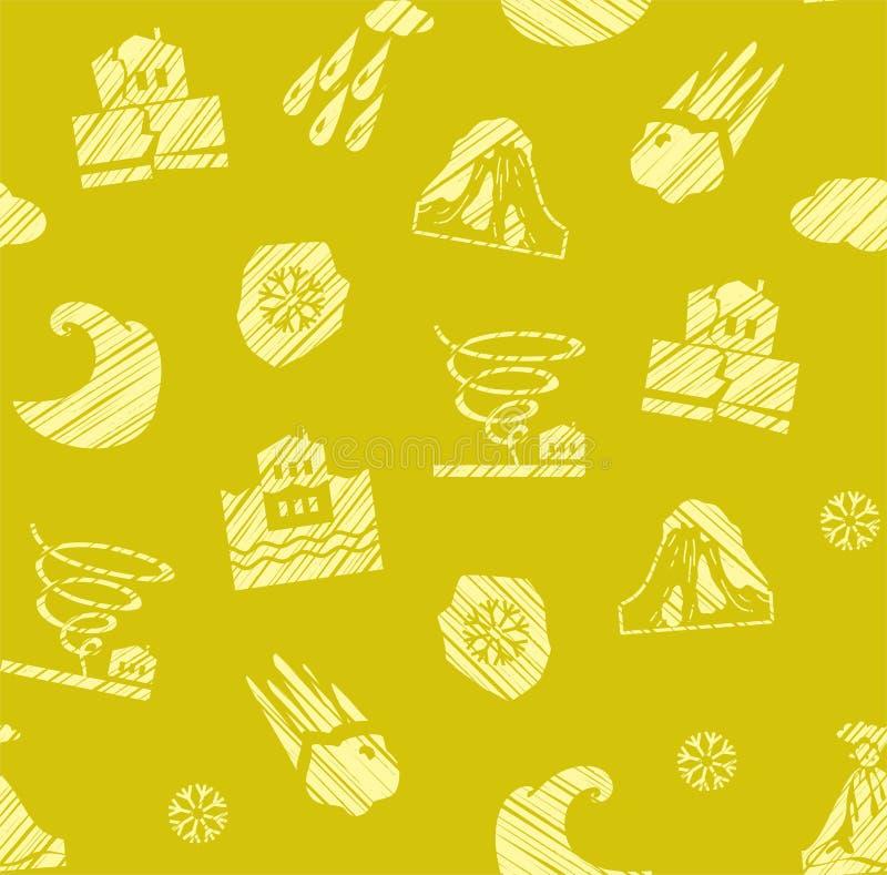 Tempo, catástrofes naturais, teste padrão sem emenda, chocando, vetor, cor, verde-amarela ilustração stock