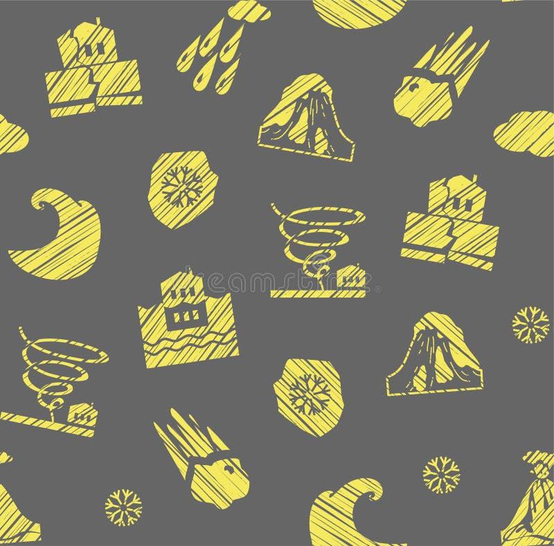 Tempo, catástrofes naturais, teste padrão sem emenda, cinzento-amarelo, chocando, vetor ilustração royalty free