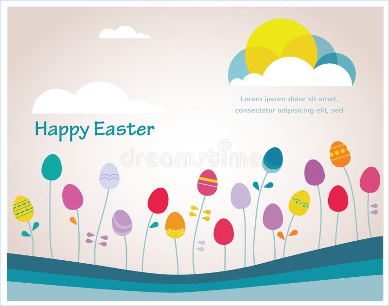 Tempo colorido da mola da Páscoa feliz do moderno com os ovos como flores ilustração do vetor