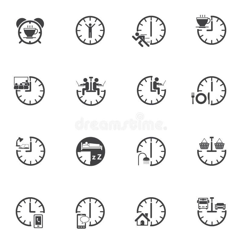 Tempo com grupo rotineiro diário do ícone ilustração royalty free