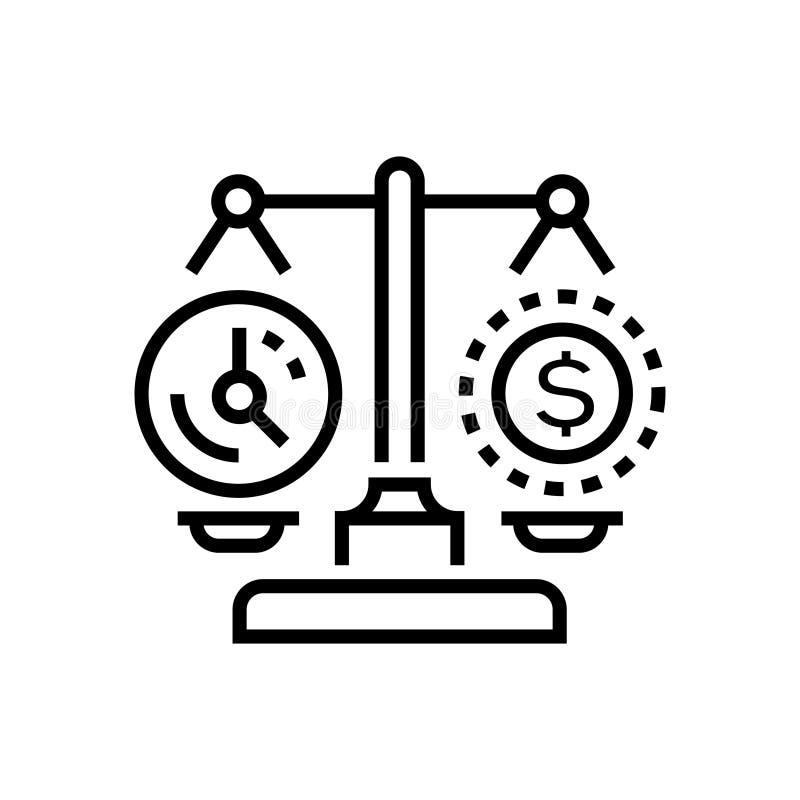 Tempo contra o dinheiro - alinhe o único ícone isolado do projeto ilustração stock