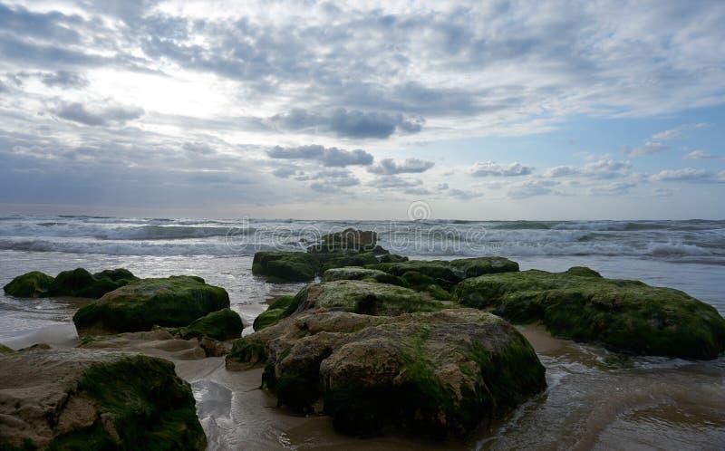 Tempo crepuscular na praia em Israel fotos de stock