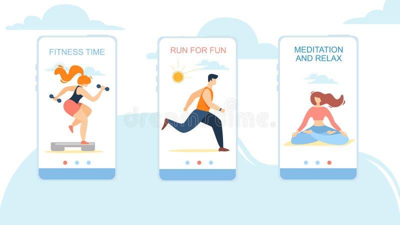 Tempo da aptidão, corrida para o divertimento, meditação e para relaxar ilustração stock