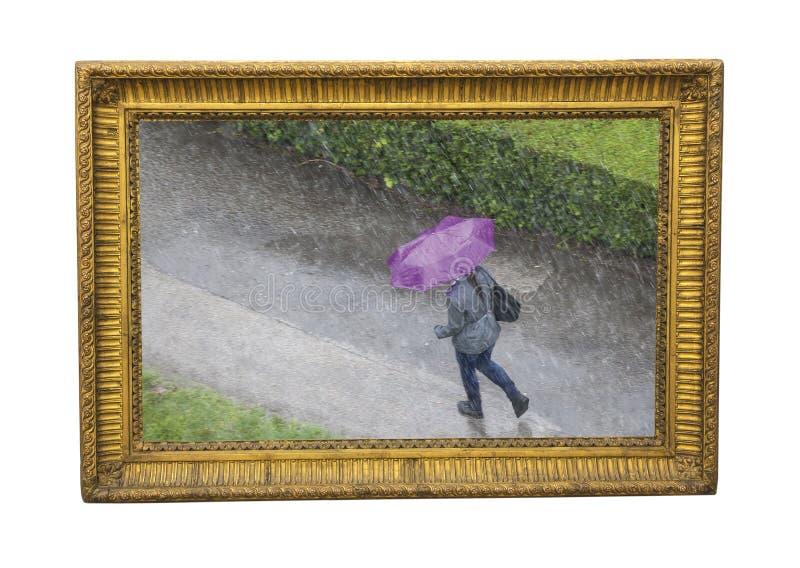Tempo da chuva na fotografia do outono como a pintura foto de stock