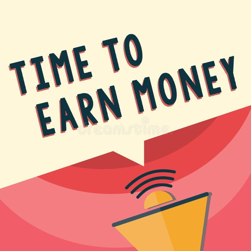 Tempo da escrita do texto da escrita ganhar o dinheiro O significado do conceito obtém pago para o trabalho feito investe no negó ilustração royalty free