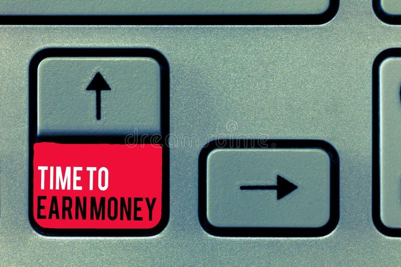 Tempo da escrita do texto da escrita ganhar o dinheiro O significado do conceito obtém pago para o trabalho feito investe no negó ilustração do vetor