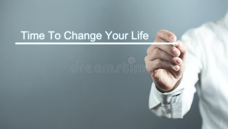 Tempo da escrita da mão mudar sua vida Negócio, conceito da motivação foto de stock royalty free